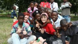 Amy volunteering overseas